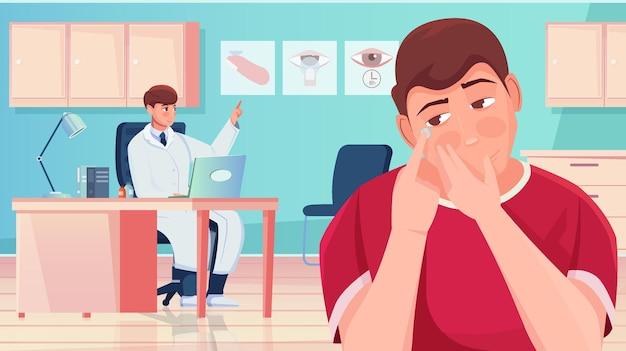 콘택트 렌즈를 올바르게 평면 그림을 적용하는 방법을 젊은 남자에게 설명하는 안과 의사