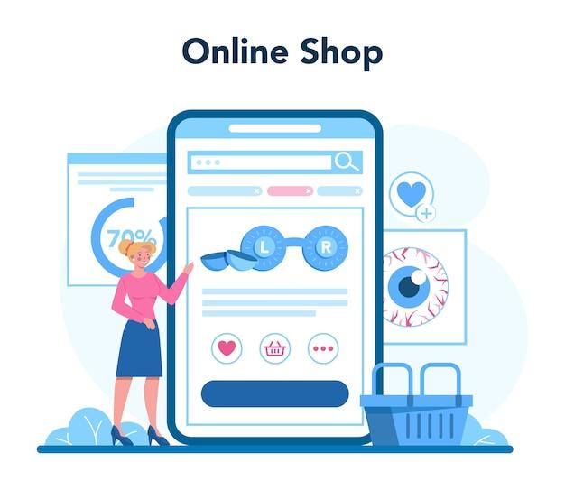 Онлайн-сервис или платформа офтальмолога. идея обследования глаз и лечения.