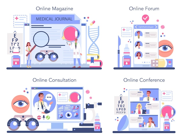 Набор онлайн-сервисов или платформ офтальмолога.