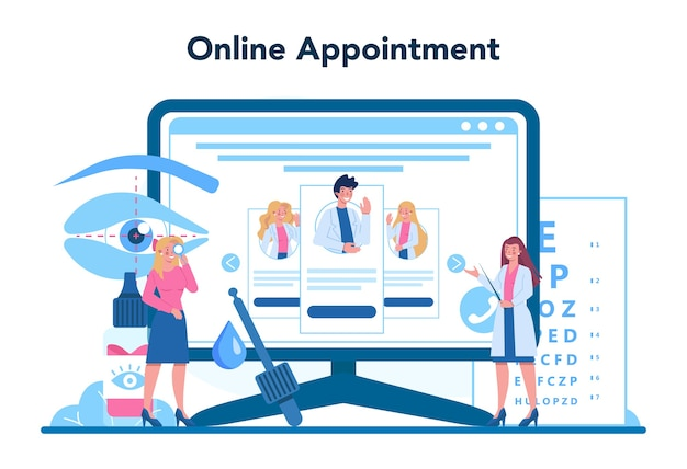 Ophthalmologist online service or platform. idea of eye exam and treatment.