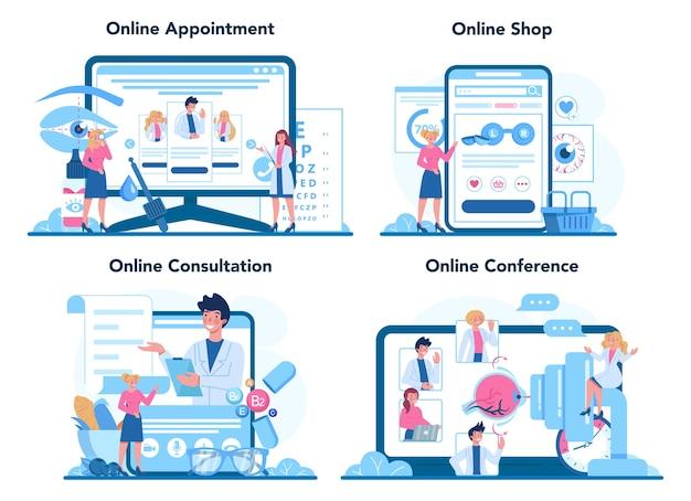 Ophthalmologist online service or platform set