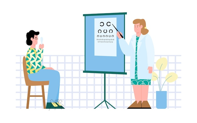 Ophthalmologist or optometrist examining patient