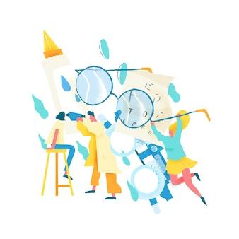 Офтальмолог или оптометрист, исследующий глаза пациентки. концепция проверки остроты зрения, проверки зрения, офтальмологической службы, медицинской диагностики зрения. современная квартира