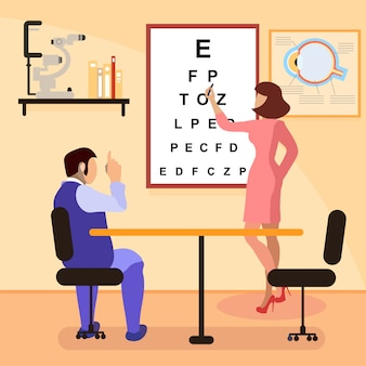 Ophthalmologist testing eyesight flat illustration