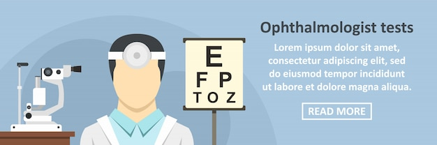 Ophthalmologist tests banner horizontal concept