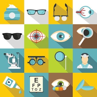 Ophthalmologist tools icons set, flat style