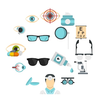 Ophthalmologist tools set flat icons