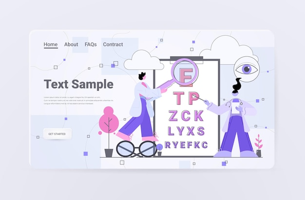 Ophthalmologists checking eyesight oculists doctors in uniform pointing letters at eye chart landing page