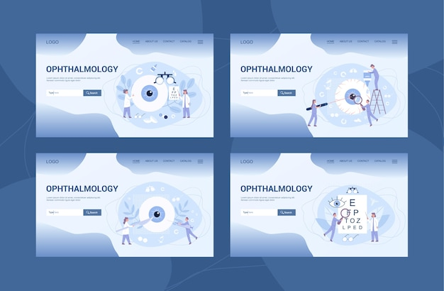 Ophthalmology clinic web banner or landing page et. idea of eye and vision care. oculist treatment set. eyesight examination and correction.