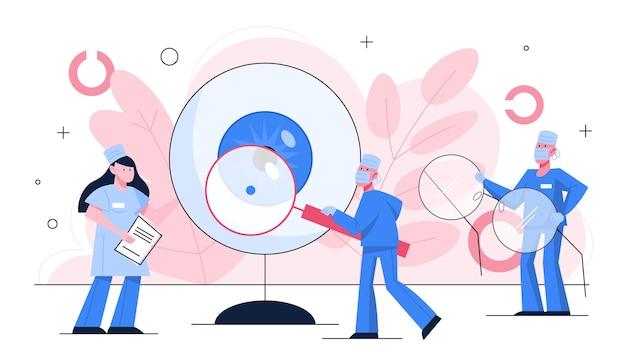 眼科のコンセプトです。アイケアとビジョンのアイデア。眼科医の治療。視力検査と矯正。