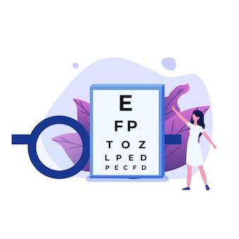 Концепция офтальмологии. офтальмолог проверяет зрение пациента.