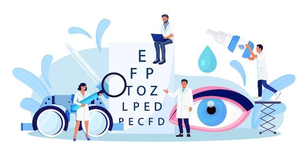 안과 개념입니다. 안과 의사는 환자의 시력을 확인합니다. 눈에 대한 광학 테스트. 좋은 시력과 배려. 시력 검사 차트를 가리키는 안과 의사. 안과 시력 검사 및 치료