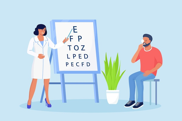 Ophthalmology diagnostics, vision correction, optometry. ophthalmologist checking eyesight of patient. oculist standing near eye test board and showing letter to man. eye clinic appointment