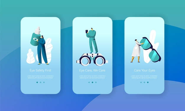 Ophthalmology doctor test eyesight mobile app page onboard screen set.