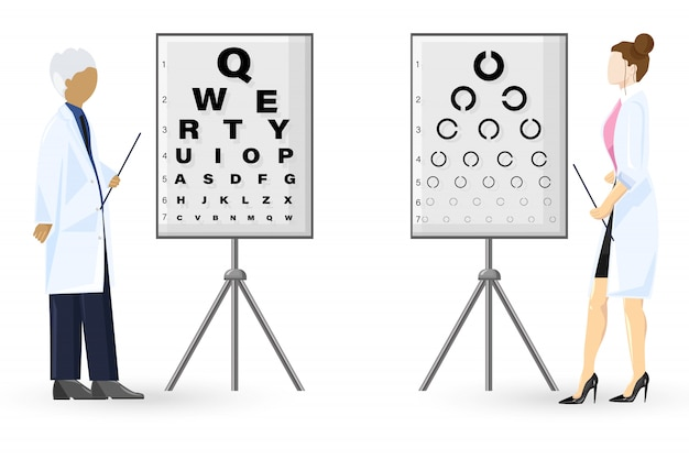 Ophthalmology examination flat style. doctors healthcare concept. template illustration