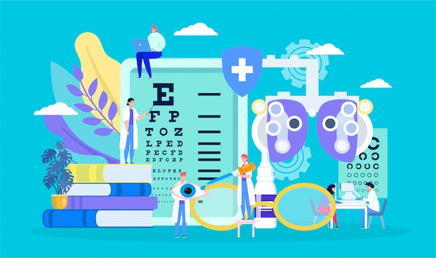 Ophthalmology, eye health , cartoon tiny myopia patient character on examination checkup, optometry concept background