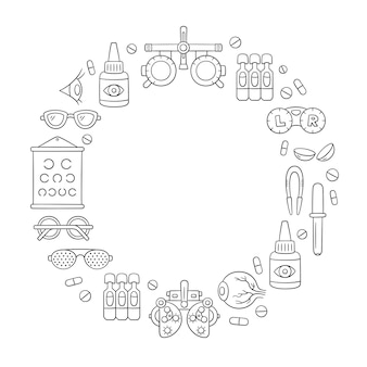 Ophthalmology hand drawn set. contact lens, eyeball, glasses, phoropter and more. optometry doodle objects in ring shape. vector illustration on white background