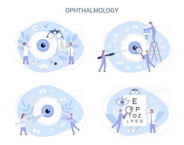 Ophthalmology . idea of eye and viion care. oculist treatment set. eyesight examination and correction.
