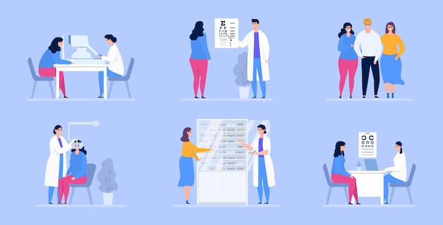 Ophthalmology illustration, doctors ophthalmologists and patients in eye clinic.