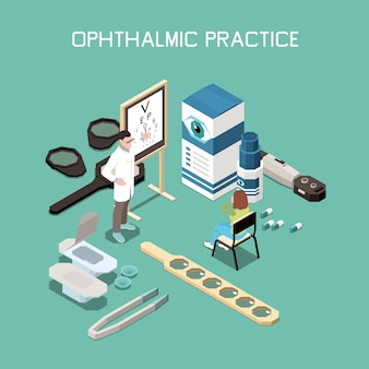 Ophthalmology instruments and medicine isometric composition illustration