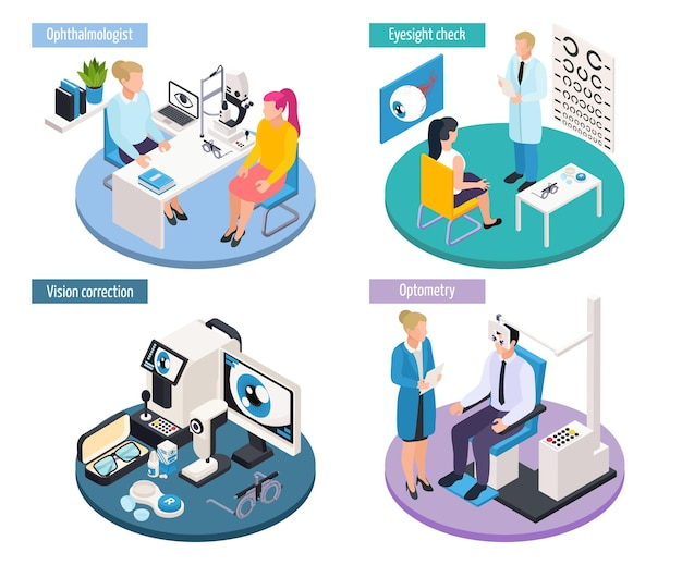 Ophthalmology isometric 2x2 design concept with scenes of medical appointments and professional eye sight checking tools  illustration