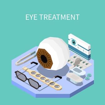 眼科治療機器と眼科等尺性組成物3dイラスト