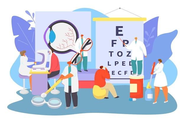 안과 의료 개념, 벡터 일러스트 레이 션입니다. 작은 안과 의사 캐릭터는 병원에서 환자를 돕고 시력을 테스트합니다.