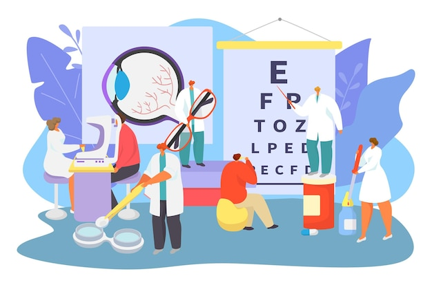 Ophthalmology medical care concept, vector illustration. tiny ophthalmologist doctor character help patient at hospital, test eyesight.