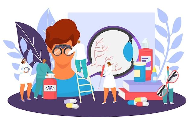 안과 의료 개념 벡터 일러스트 레이 션 작은 안과 의사 문자 테스트 아이...
