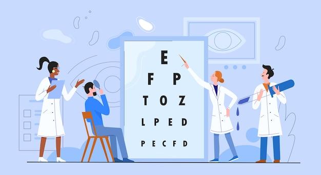 Концепция медицины офтальмологии плоская векторная иллюстрация, персонажи мультфильма женщина мужчина врач офтальмолог проверяют зрение пациента