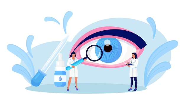 Ophthalmology. tiny doctors treats and examines eyes, vision. medical eyesight check up, diagnosis. lens examination and retina correction