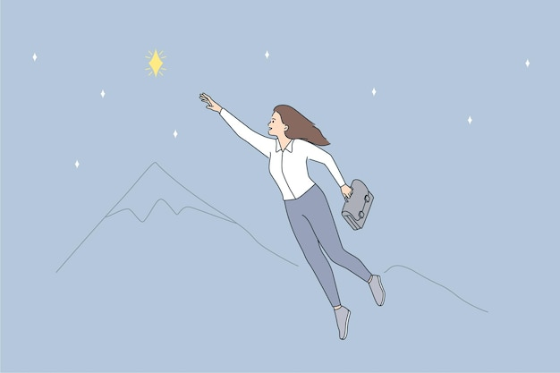 Opportunities and business leadership concept. young smiling business woman cartoon character flying up going to reach star flying in air vector illustration