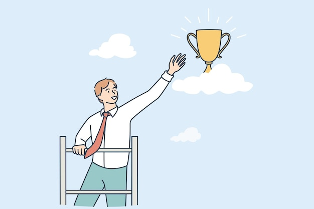 Opportunities and business success concept. young smiling businessman cartoon character standing reaching for golden trophy flying in air vector illustration