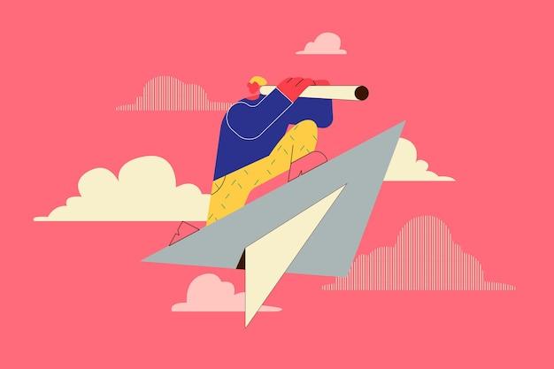 機会、新しいアイデア、事業開発のコンセプト。紙飛行機に座って望遠鏡を使用しているビジネスパーソン。