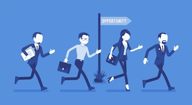 機会、ビジネスマンは雇用または昇進のチャンスのために走ります。男性と女性のマネージャーは可能性を手に入れ、アクティブな従業員は有望なプロジェクトを見ています。ベクトルイラスト、顔のない文字