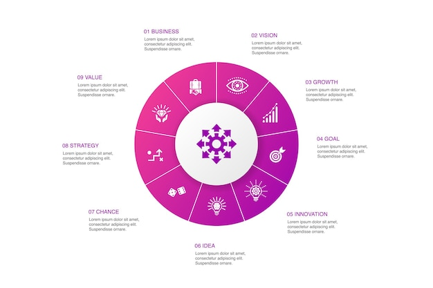 Opportunity infographic 10 steps circle design.chance, business, idea, innovation simple icons