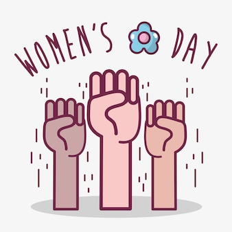 Oppose hands up to womens day celebration