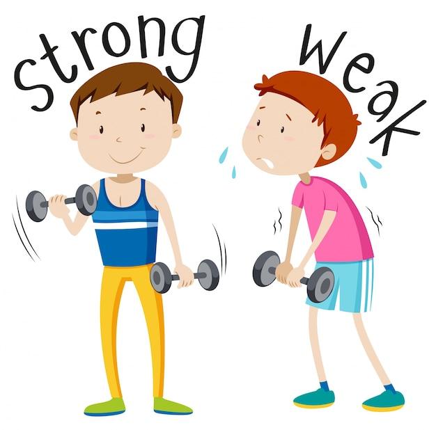 Противоположное прилагательное с сильным и слабым