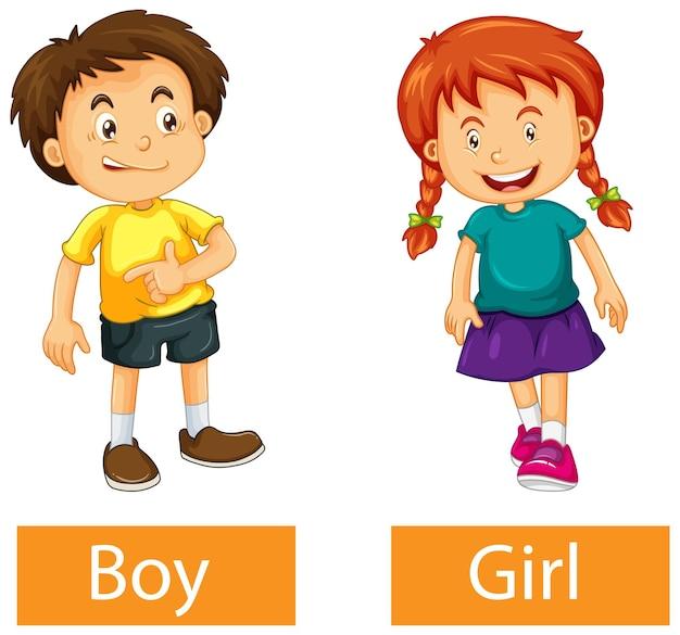 흰색 배경에 소년과 소녀와 반대 형용사 단어