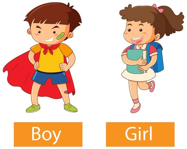 白い背景の上の男の子と女の子と形容詞の反対の言葉