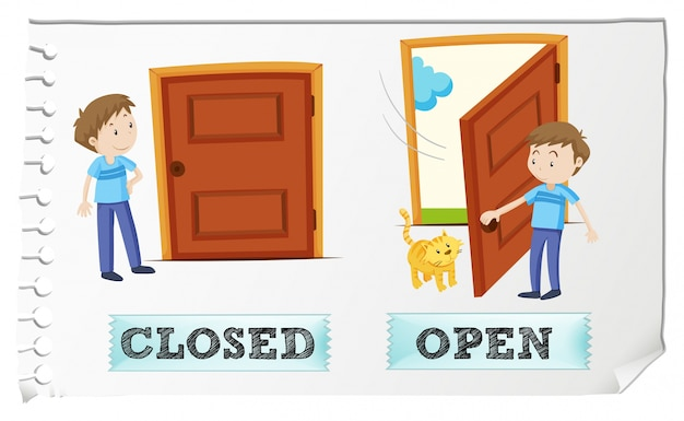 Opposite adjectives closed and open