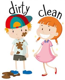 Противоположные прилагательные грязные и чистые