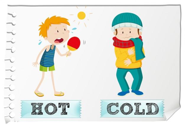Противоположные прилагательные горячие и холодные