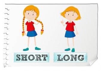 Opposite adjectives short and long