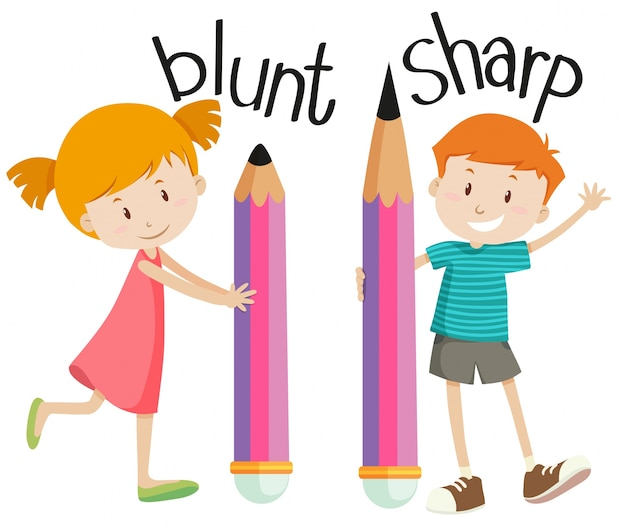 Opposite adjectives with blunt and sharp
