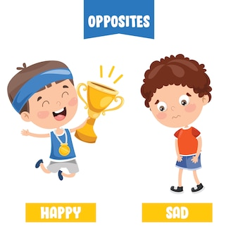 Opposite adjectives with cartoon drawings