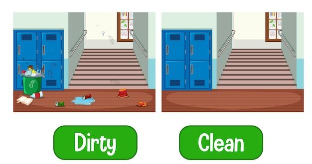 Parole di aggettivi opposti con sporco e pulito
