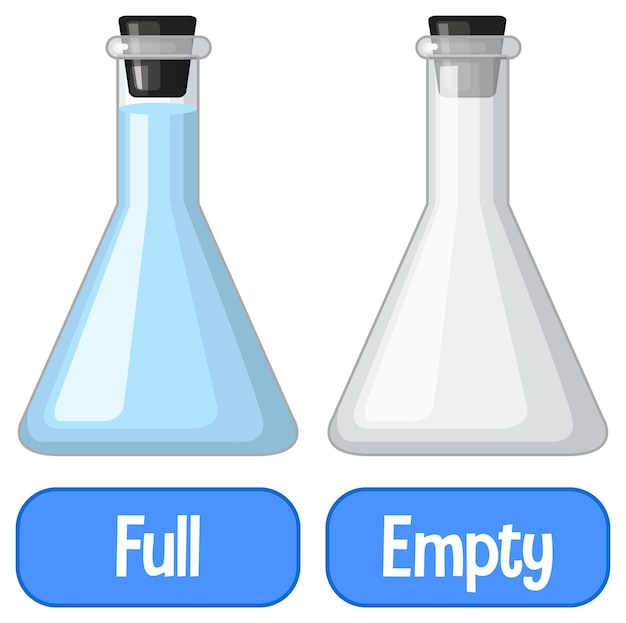 Opposite adjectives words with full and empty