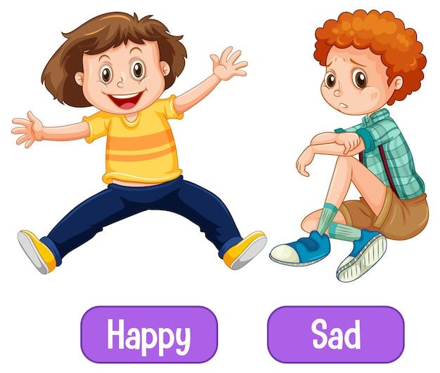 Напротив прилагательных слова с счастливым и грустным