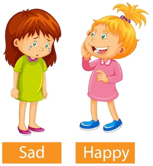 Opposite adjectives words with happy and sad Free Vector
